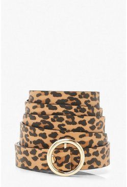 Tan Plus Animal Circle Buckle Skinny Belt