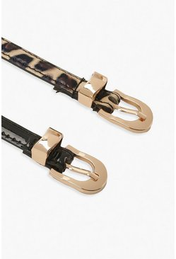 Black Plus Leopard Patent Skinny Belt 2 Pack