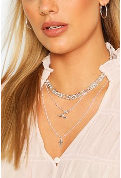 Silver Plus Chunky Chain & T-bar Choker Pack
