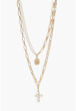 Plus Pearl And Chain Choker Pack, Gold