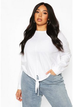 Plus Basic Tie Front Long Sleeve T-Shirt, White