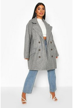 Petite Marl Double Breasted Wool Look Coat, Grey
