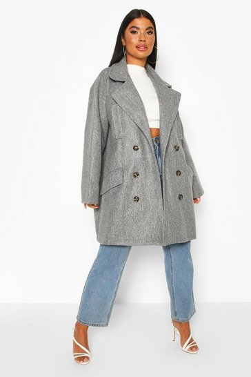 Grey Petite Marl Double Breasted Wool Look Coat