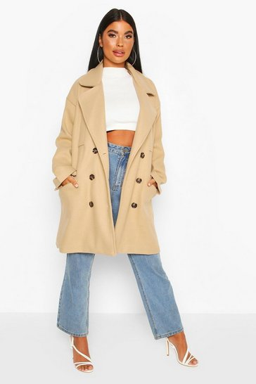 Stone Petite Marl Double Breasted Wool Look Coat