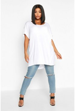 Plus Basic Oversize Dip Hem T-Shirt, White