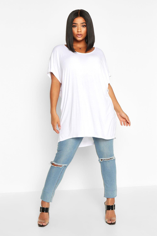Plus Basic Oversize Dip Hem T-Shirt 3