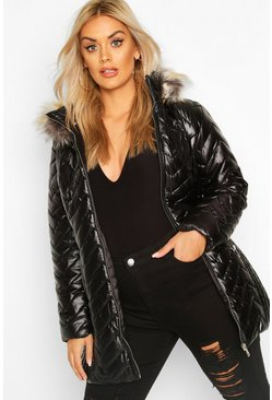Womens Black Plus Padded Puffer Faux Fur Hooded Coat