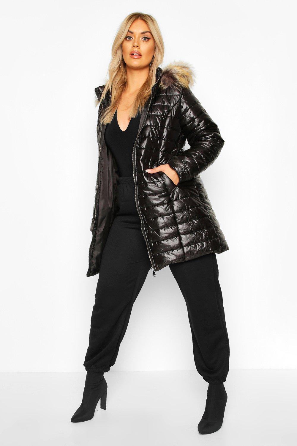Plus Padded Puffer Faux Fur Hooded Coat 8