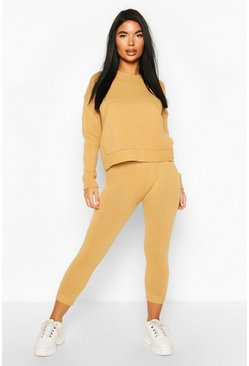 Camel Petite Hooded Knit And Jogger Co-Ord
