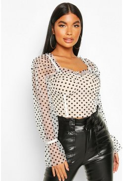 White Petite Puff Sleeve Spot Mesh Crop Top