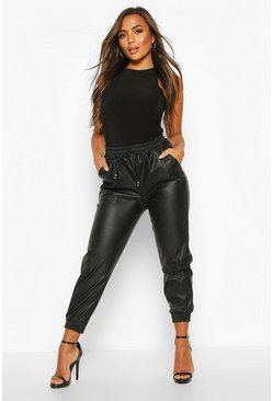 Black Petite Faux Croc Leather Joggers