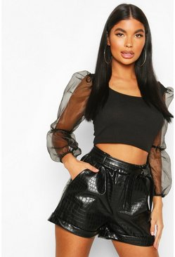 Petite Faux Leather Croc Belted Paperbag Shorts, Black