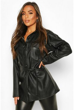 Black Petite Faux Leather Belted Longline Shirt Jacket