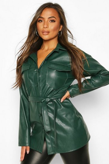 Green Petite Faux Leather Belted Longline Shirt Jacket