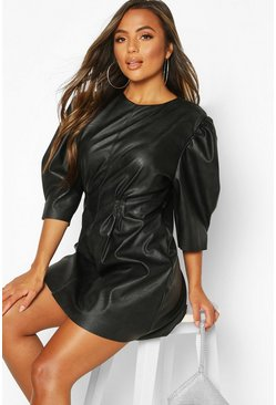 Black Petite Faux Leather Puff Sleeve Dress
