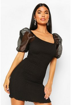 Black Petite Organza Sleeve Sheered Mini Dress