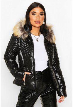 Petite High Shine Faux Fur Trim Padded Jacket, Black, DAMEN