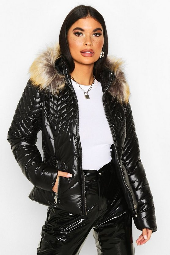 Petite Chevron Detail Faux Fur Trim Padded Jacket