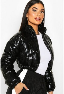 Petite Cropped High Shine Padded Jacket, Black