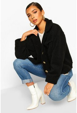 Black Petite Wool Look Trucker Jacket