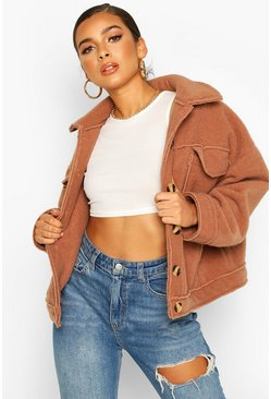 Camel Petite Wool Look Trucker Jacket
