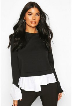 Black Petite Layered Shirt Sweat Top