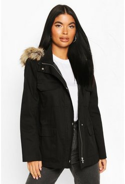 Black Petite Faux Fur Trim Utility Pocket Parka Jacket