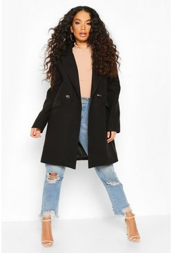 Petite Tailored Double Breasted Wool Look Coat, Black, ЖЕНСКОЕ