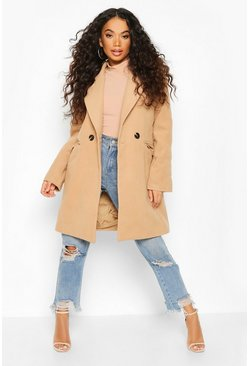 Camel Petite Tailored Double Breasted Wool Look Coat