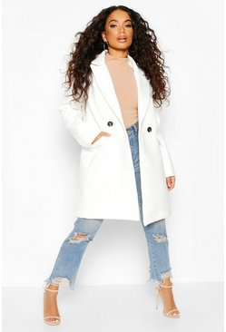 Ivory Petite Tailored Double Breasted Wool Look Coat