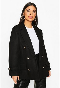 Petite Double Breasted Wool Look Military Coat, Black, Donna