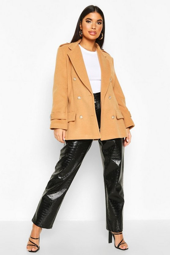 Camel Petite Double Breasted Wool Look Military Coat