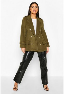 Khaki Petite Double Breasted Wool Look Military Coat