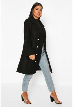 Black Petite Military Wool Look Double Breasted Coat