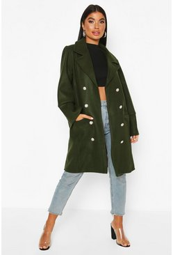 Petite Military Wool Look Double Breasted Coat, Khaki