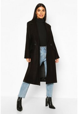 Petite Oversized Wool Look Double Breasted Coat, Black, ЖЕНСКОЕ