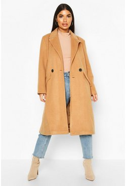 Petite Oversized Wool Look Double Breasted Coat, Camel, FEMMES