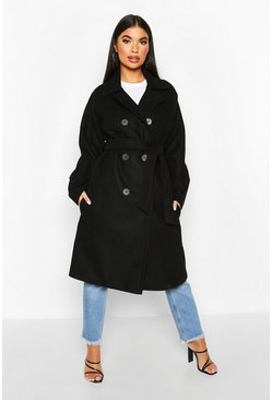 Black Petite Double Breasted Belted Wool Look Coat
