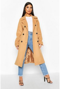 Petite Double Breasted Belted Wool Look Coat, Camel, ЖЕНСКОЕ