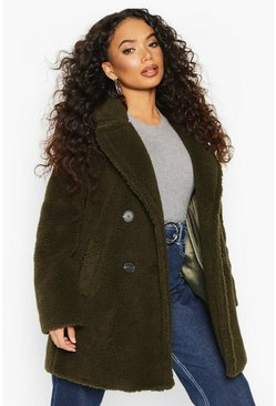 Petite Double Breasted Teddy Coat, Khaki, DAMEN