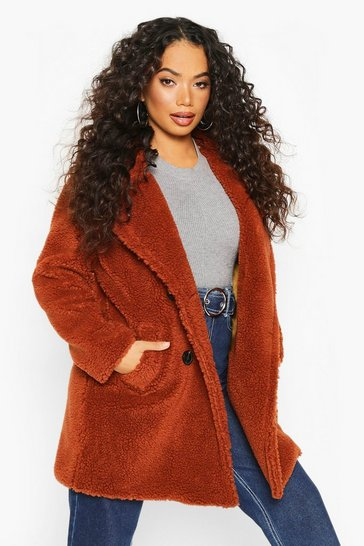 Womens Rust Petite Double Breasted Teddy Coat