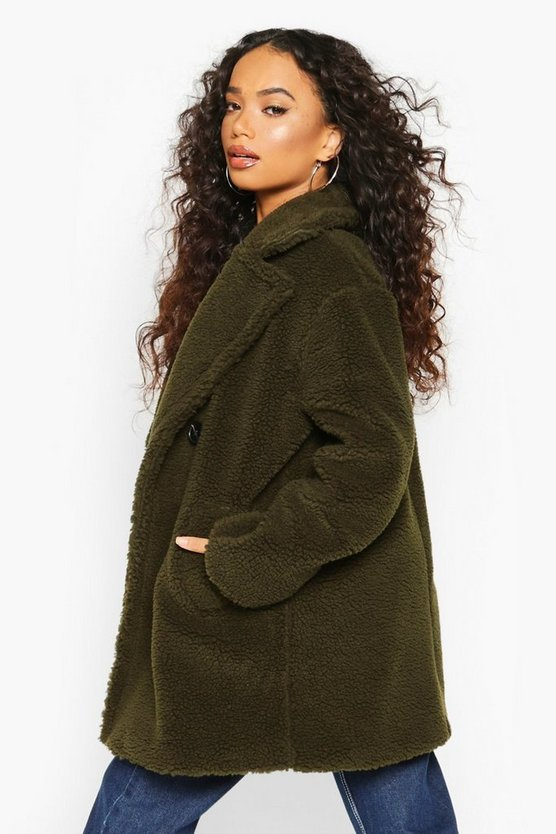 Petite Double Breasted Teddy Coat
