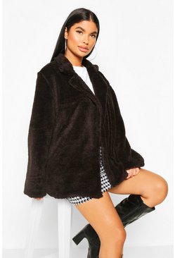 Womens Black Petite Double Breasted Cropped Teddy Coat