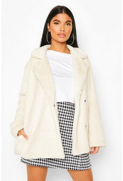 Cream Petite Double Breasted Cropped Teddy Coat