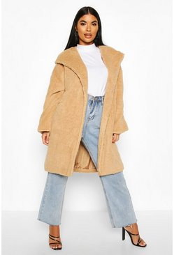 Beige Petite Oversized Hooded Teddy Coat