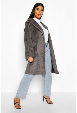 Womens Grey Petite Oversized Hooded Teddy Coat