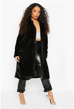 Womens Black Petite Longline Super Soft Faux Fur Coat