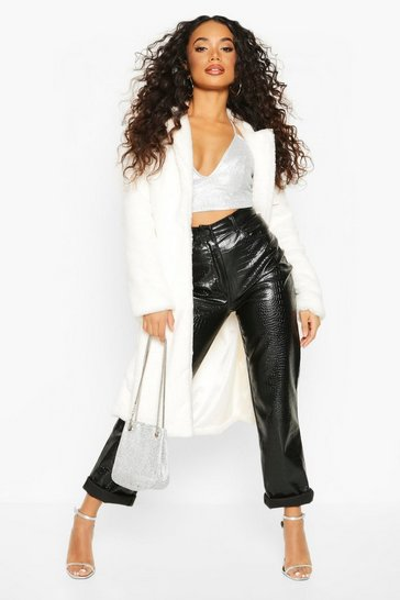 White Petite Longline Super Soft Faux Fur Coat