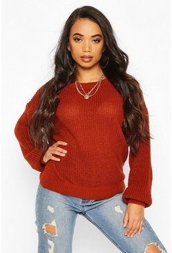 Womens Toffee Petite Oversize Jumper