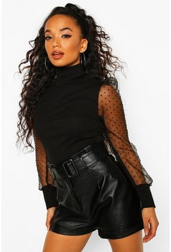 Black Petite Organza Spot Mesh Roll Neck Sweater